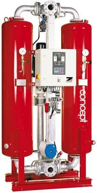 Пропускная способность до 88 м³/мин Давление 10 бар Тип регенерации - горячая, потеря сжатого воздуха до 5...